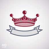 Vector imperial crown with undulate ribbon. Classic coronet with — Stock Vector