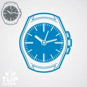 Vector graphic pocket watch illustration, classic detailed watch — ストックベクタ