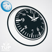 3d vector round wall clock with black dial, simple version inclu — Stock Vector