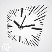 3d vector square wall clock with dial and an hour hand. Time ide — Stock Vector