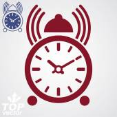 Stylized alarm clock vector 3d illustration with podcast sign, c — Stock Vector