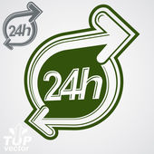 Contemporary vector 24 hours detailed icon with two arrows aroun — Stock Vector