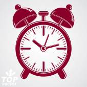 Vector 3d alarm clock with two symmetric bells, wake up conceptu — Stock Vector