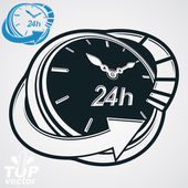 Black and white 3d vector 24 hours timer, around-the-clock picto — Stock Vector