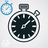 Vector classic black and white stopwatch, additional version inc — Stock Vector