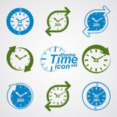Set of graphic web vector 24 hours timers, around-the-clock flat — Stock Vector