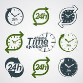 Graphic web vector 24 hours timer, around-the-clock flat pictogr — Stockvector
