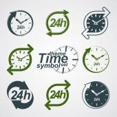 Graphic web vector 24 hours timer, around-the-clock flat pictogr — Stock Vector