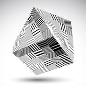 Squared eps8 striped contrast object. Symmetric rectangular obje — Stockvector