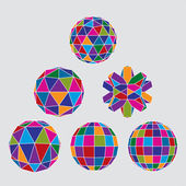 Collection of complex dimensional spheres and abstract geometric — Stock Vector