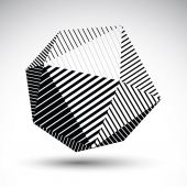 Abstract 3D spherical vector contrast pattern, art orb striped, — Stockvector