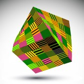 Colorful squared eps8 striped contrast object. Symmetric rectang — Stockvector