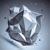 Abstract 3D asymmetric structure, polygonal vector network compl — Stock Vector