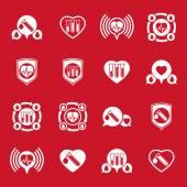Kardiologie und Bluttransfusion Vektor Icons Set, kreative symb — Stockvektor