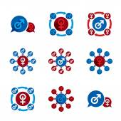 Male and female unusual sex theme vector icons set. — Stock Vector