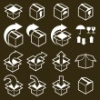 Packaging boxes icons vector set, pack simplistic symbols vector — Stock Vector #57841309