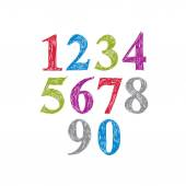 Stylish vector digits, handwritten numerals.  — Stock Vector