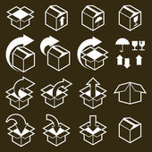 Packaging boxes icons vector set, pack simplistic symbols vector — Stock Vector