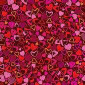Romantic background, different hearts seamless pattern. — Vector de stock