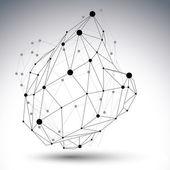 3D mesh modern style abstract object, network futuristic figure — Vecteur