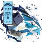 Vector digital 3d abstraction, geometric polygonal perspective m — Stockvektor