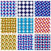 Set of multicolored grate seamless patterns with parallel ribbon — Stock Vector