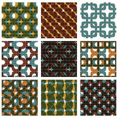 Set of multicolored grate seamless patterns with parallel ribbon — Vector de stock