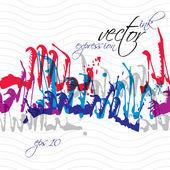 Bright splattered web design repeat pattern, art ink blob, paint — Stock Vector