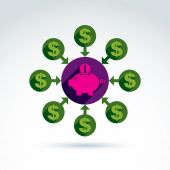 Piggy bank credit and deposit money theme symbol, vector concept — Stock Vector
