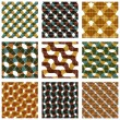 Set of multicolored grate seamless patterns with parallel ribbon — Stock Vector #58726015