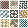 Set of multicolored grate seamless patterns with parallel ribbon — Stock Vector #58726057
