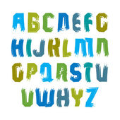 Multicolored handwritten uppercase letters, vector doodle brush  — Stock Vector