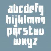 Vector pincel con estilo de las letras minúsculas, letra manuscrita, sans s — Vector de stock