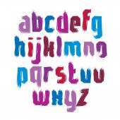 Vector stylish brush lowercase letters, handwritten font, sans s — Stock Vector