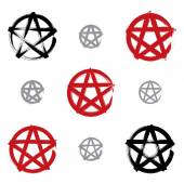 Set of hand-drawn pentagram icons scanned and vectorized, collec — Stock Vector