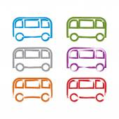 Set of hand-drawn colorful bus icons, collection of illustrated — Stock Vector