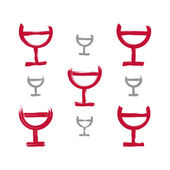 Set of hand-drawn simple half full wineglasses, collection of br — Stock Vector