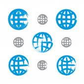 Set of hand-painted earth globe icons isolated on white backgrou — Stock Vector