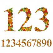 Numbers made with leaves, floral numerals set, vector design. — Stock Vector