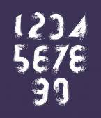 Vector stylish brush digits, handwritten numerals, white doodle  — Stock Vector