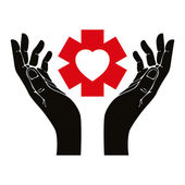 Hand with heart and emergency symbol vector symbol. — Stock Vector