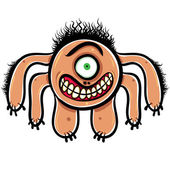 Shocked cartoon monster with one eye, black and white lines vect — Stock Vector