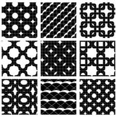 Set of grate seamless patterns with stars, and geometric figures — 图库矢量图片