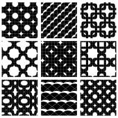 Set of grate seamless patterns with stars, and geometric figures — Stock vektor