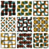 Set of colored grate seamless patterns with labyrinth and geomet — Stock Vector