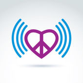 Vector loving heart icon with peace symbol from 60th. Podcast si — Stock Vector