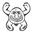 Angry cartoon monster, black and white lines vector illustration — Stock Vector #58732223