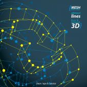Dimensional elegant mesh loop sign, technical renew symbol, vect — Stock Vector
