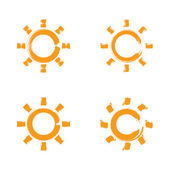 Set of hand-drawn simple vector sun icons, collection of brush d — Stock Vector