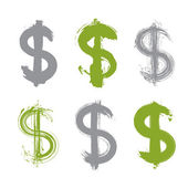Set of hand-painted green dollar icons isolated on white backgro — 图库矢量图片